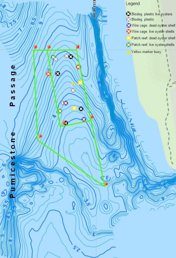 Location and types of experimental reef modules deployed in Pumicestone Passage.
