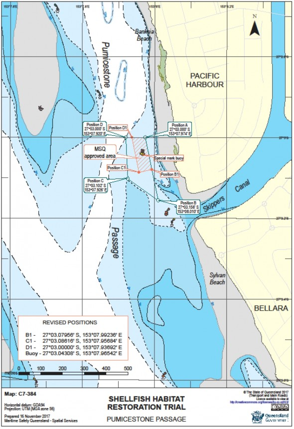 Map of the approved shellfish reef trial area. Boaties and fishers are asked not to anchor within 80 meters of the yellow marker buoy to avoid damaging the shellfish reef units.